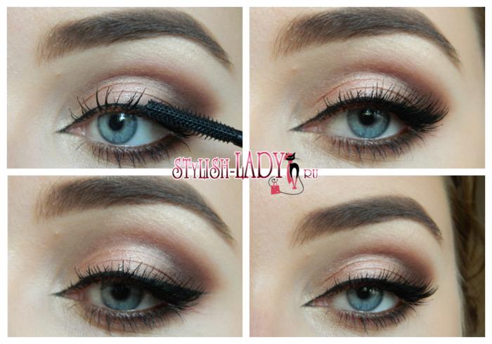 Повседневный макияж с коричневыми тенями фото