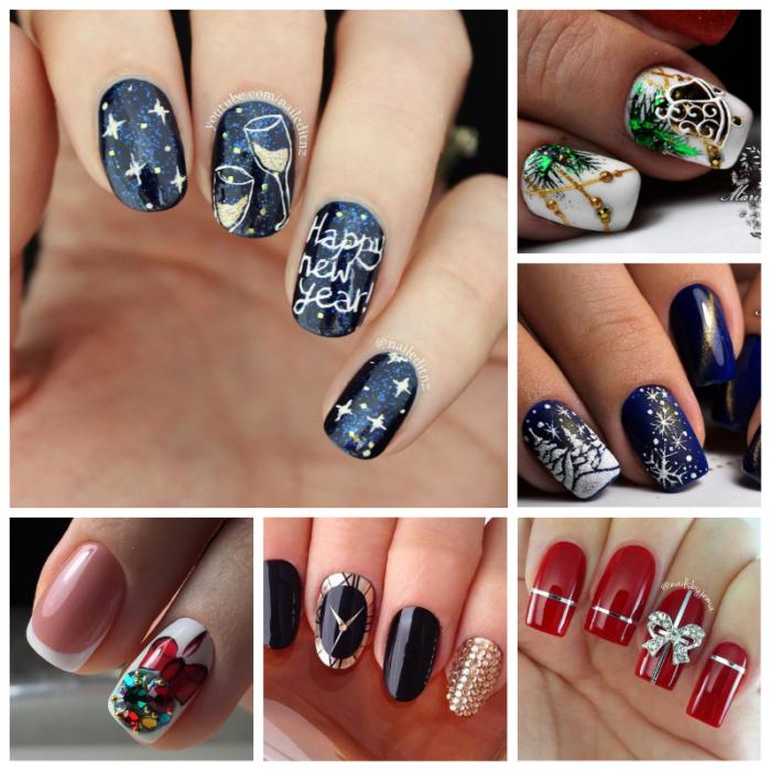 новогодние рисунки на ногтях атрибутика