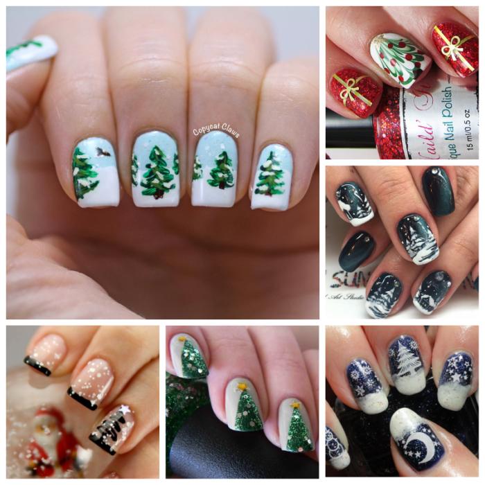 новогодние рисунки на ногтях елочки
