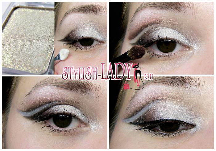 новогодний макияж для карих глаз с перламутром