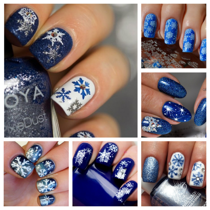 новогодний маникюр синий со снежинками