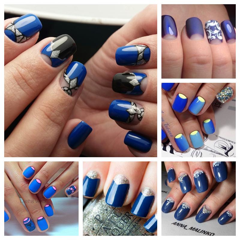 Синие блестки на ногтях