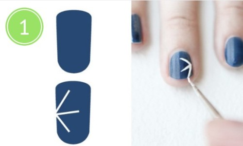 рисуем снежинки на ногтях