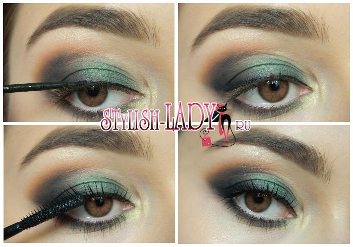зеленый новогодний макияж для карих глаз фото