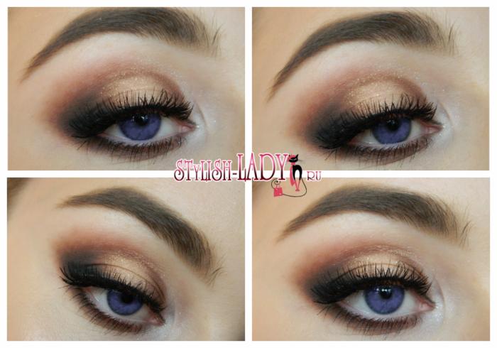 Золотисто - коричневый вечерний макияж с блестками фото