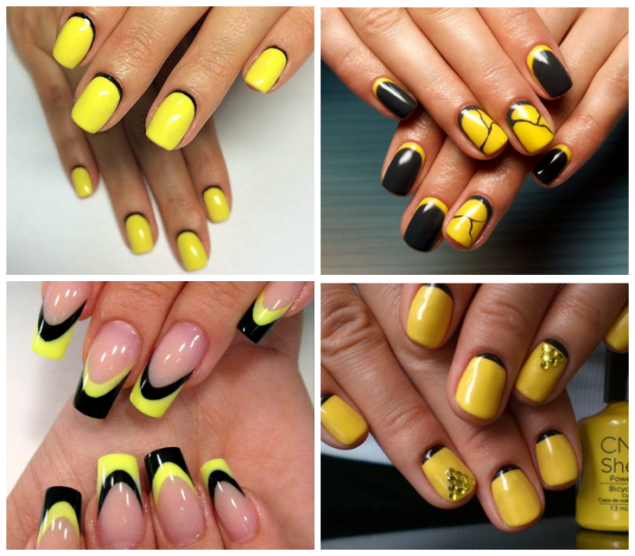 черно - желтый лунный маникюр