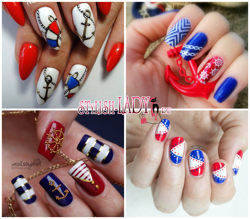 Красно синие полоски на ногтях маникюр