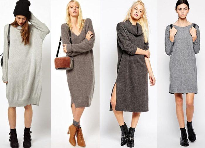 с чем носить вязаное платье