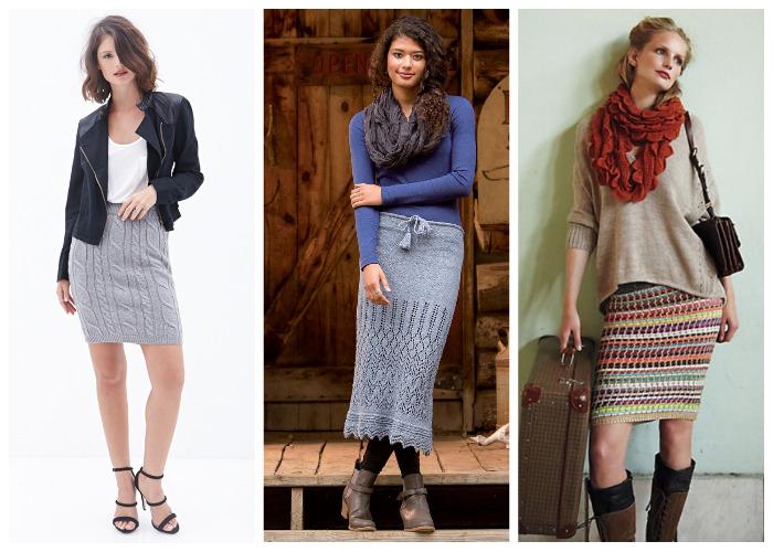 с чем носить вязаную юбку карандаш плиссе миди длинную или короткую