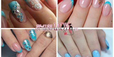 Голубой френч на короткие и длинные ногти — варианты, новинки, идеи
