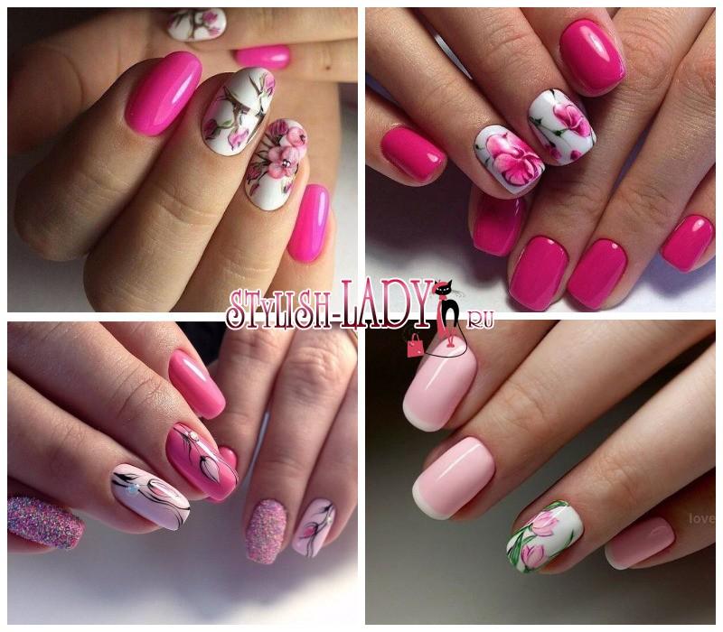 Варианты маникюра белый и розовый