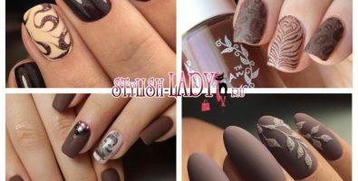 Насыщенный шоколадный маникюр — более 50-ти идей
