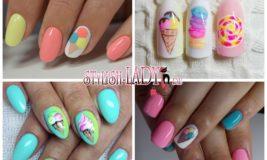 Пирожное и мороженое на ногтях — варианты сладкого дизайна