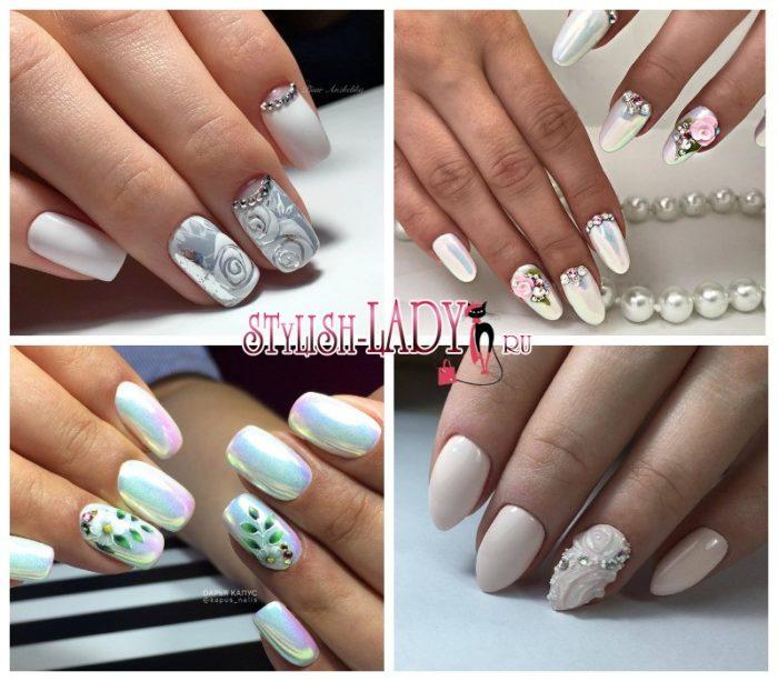 Белые длинные ногти 85