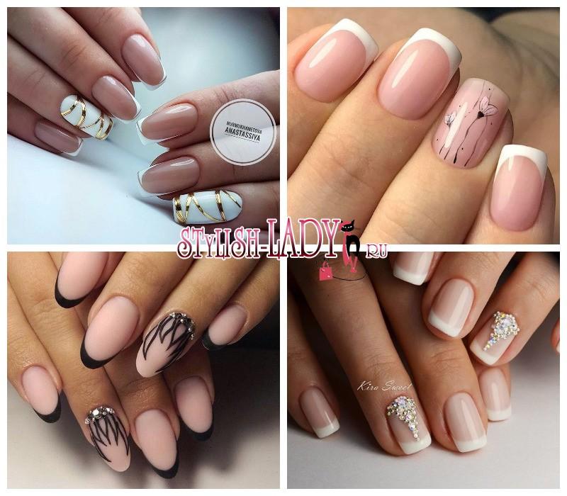 френч на ногтях с рисунком на безымянном пальце фото
