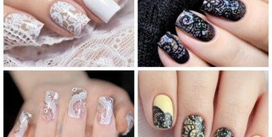 Маникюр с кружевом — красивые идеи ажурного дизайна ногтей