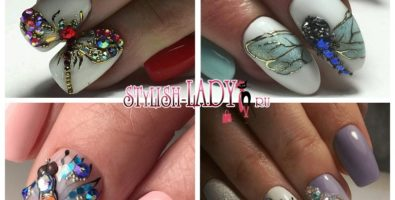 Идеи для маникюра со стрекозой на ногтях