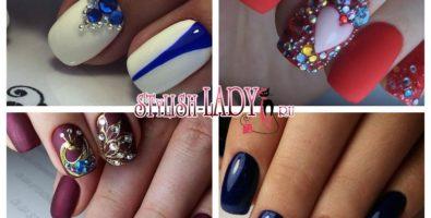 Маникюр на короткие ногти со стразами — красивые идеи