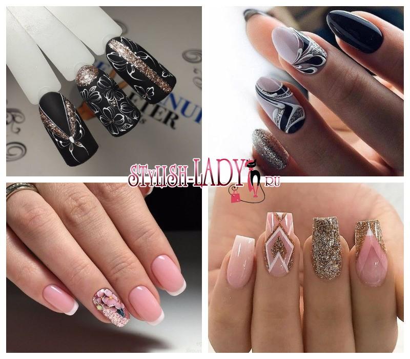 фото рисунки на ногтях с блестками
