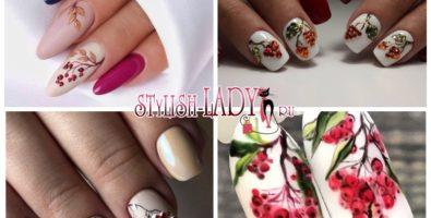 Стильный декор ногтей с рябиновыми ягодами