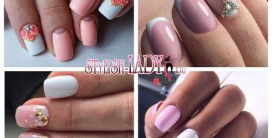 Женственный и изящный бело-розовый маникюр