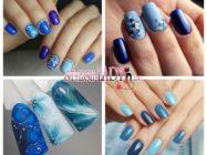 Модные идеи сине-голубого маникюра