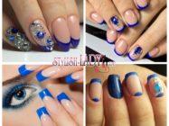 Красочные идеи дизайна с синим френчем на ногтях