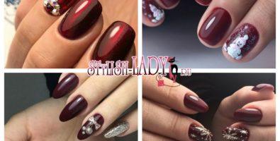 Бордовый новогодний маникюр — яркость и стиль