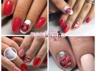 Губы на ногтях — прикольный дизайн на день Всех Влюбленных