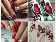Очаровательный зимний дизайн ногтей со снегирями