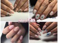 Элегантный бежевый дизайн ногтей с цветами