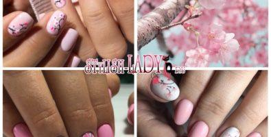 Утонченный весенний маникюр с цветущей сакурой