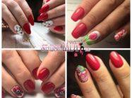 44 идеи дерзкого красного маникюра с цветами