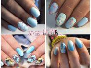 Голубой летний маникюр: небесные краски на ногтях