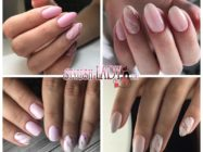 Розовый мраморный маникюр: красивый эффект камня на ногтях