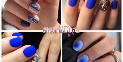32 идеи синего маникюра на короткие ногти