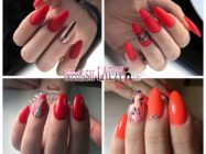 Роскошный и женственный красный маникюр на длинные ногти