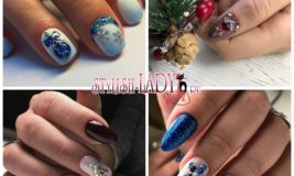 40 красивых идей новогодних рисунков из страз на ногтях