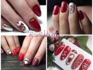 Красно-белый новогодний маникюр: эффектное сочетание и стильный декор