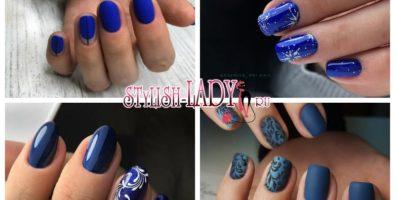 Модные тенденции и новинки зимнего темно-синего маникюра