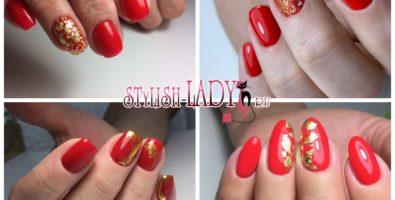 Красивый красный маникюр с золотом для весны и 8 марта