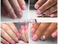 Модные идеи летнего розового маникюра на короткие ногти