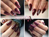 Идеи модного бордового маникюра на длинные ногти