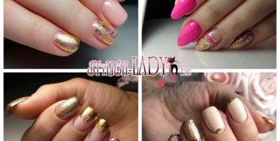 Нежный и женственный розовый с золотом маникюр