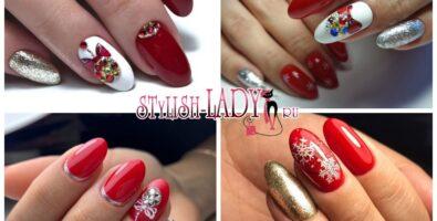 Яркий и модный красный новогодний маникюр