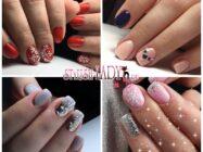 Модные идеи новогоднего маникюра на квадратные ногти