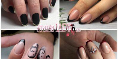 Эффектный темный френч на ногтях